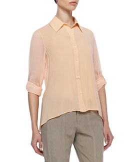 Alice + Olivia Beau High-Low Sheer Blouse