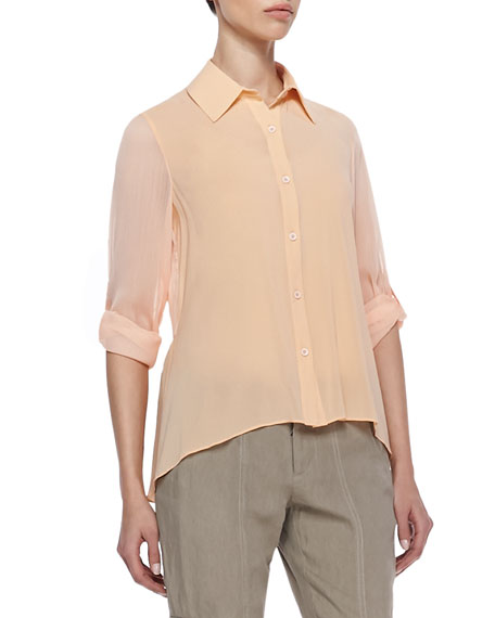 Beau High-Low Sheer Blouse
