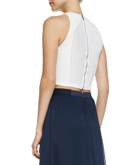 Pire Sleeveless Crop Top, White