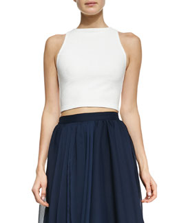 Alice + Olivia Pire Sleeveless Crop Top, White