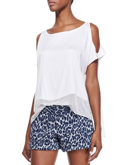 Alice + Olivia Open-Shoulder Chiffon Tee
