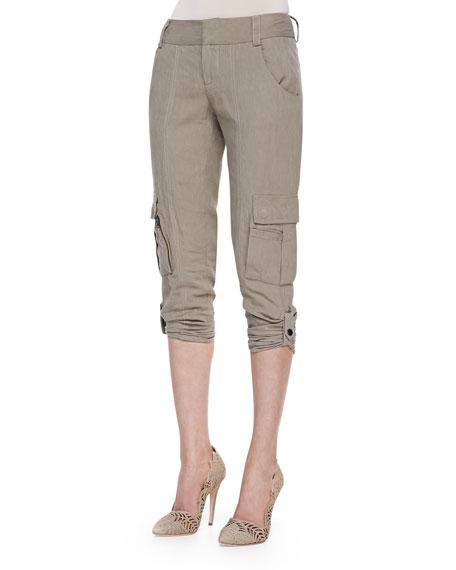 Narrow Tab-Cuff Cargo Pants