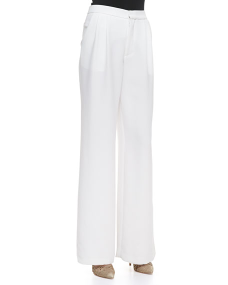 High-Waist Pleated Wide-Leg Pants