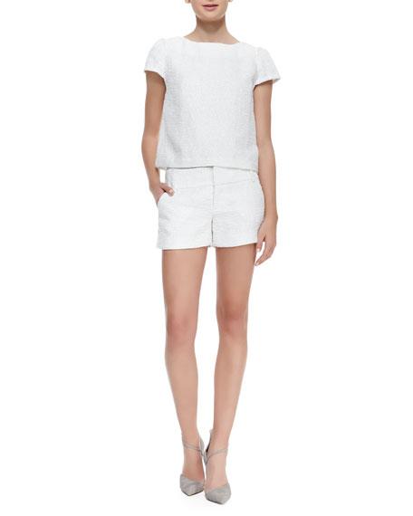 Cady Tweed No-Cuff Shorts, White