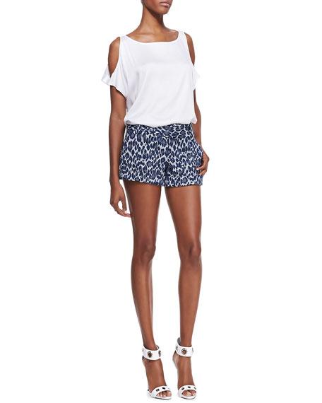 Cady Leopard-Print Cuffed Shorts