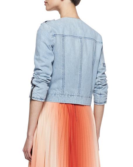 Cam Round-Neck Denim Jacket