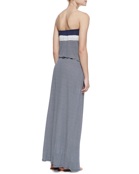 Christabel Striped-Jersey Strapless Maxi Dress