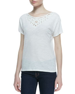 Soft Joie Ellidine Embroidered Short-Sleeve Top