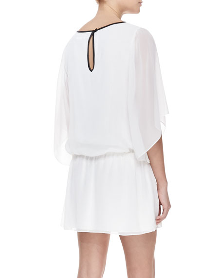 Jem Leather-Trim Chiffon Dress