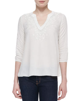 Soft Joie Lake Embroidered Cotton Top