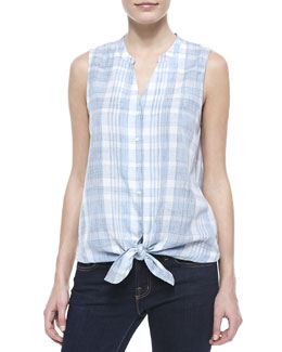 Soft Joie Fanning Plaid Sleeveless Top