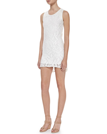 Gwen Sleeveless Lace Dress, White