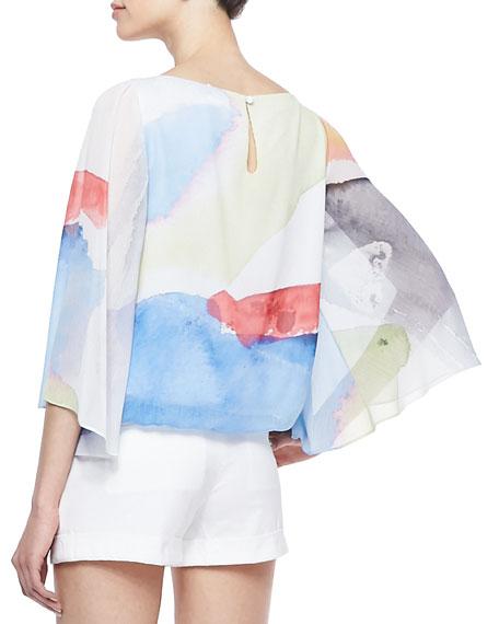 Josie Printed Butterfly-Sleeve Blouse