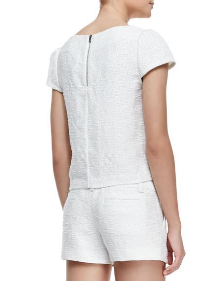Boxy Tweed Cap-Sleeve Top, White