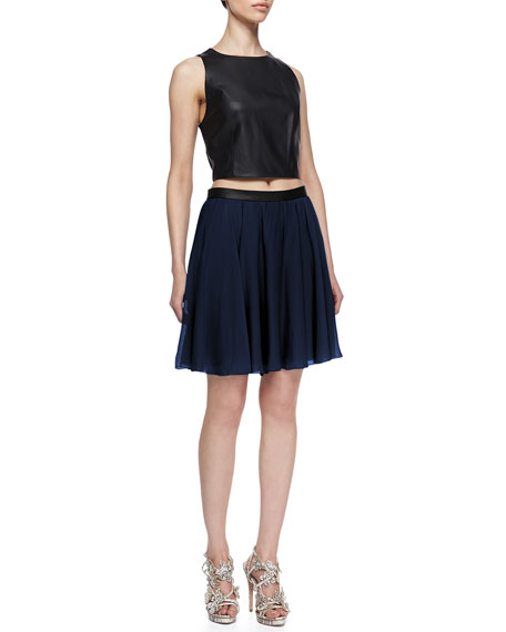 Polly Leather-Waist Pleated Skirt