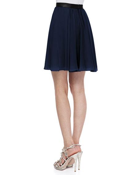 Polly Leather-Waist Pleated Skirt