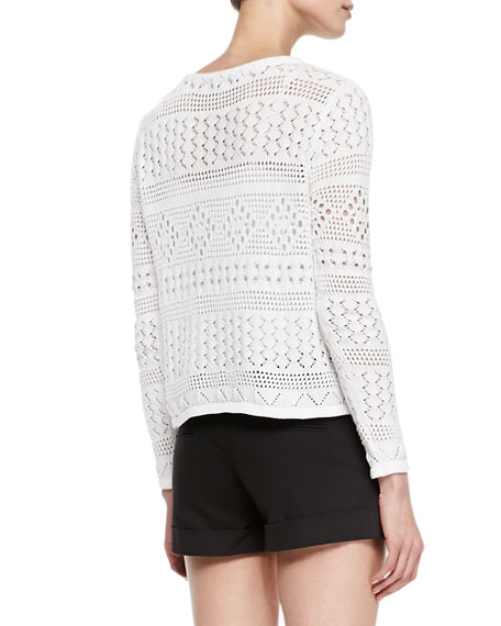 Dorie Cropped See-Through Knit Sweater