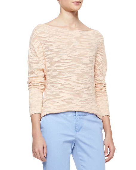 Boat-Neck Slub Knit Sweater