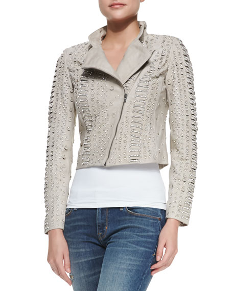Jace Bead-Embellished Leather Moto Jacket