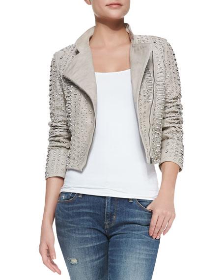 Jace Bead-Embellished Leather Moto Jacket