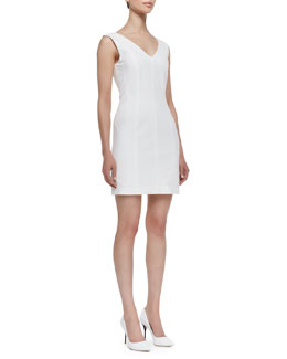 Theory Molana Sleeveless Seamed Sheath Dress, White