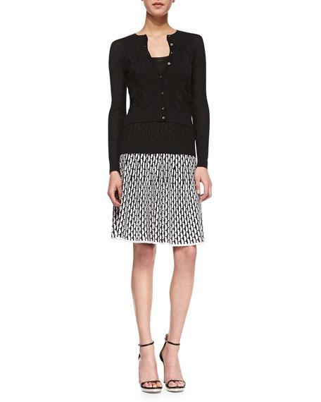 Vertical Fan-Stitch A-line Skirt