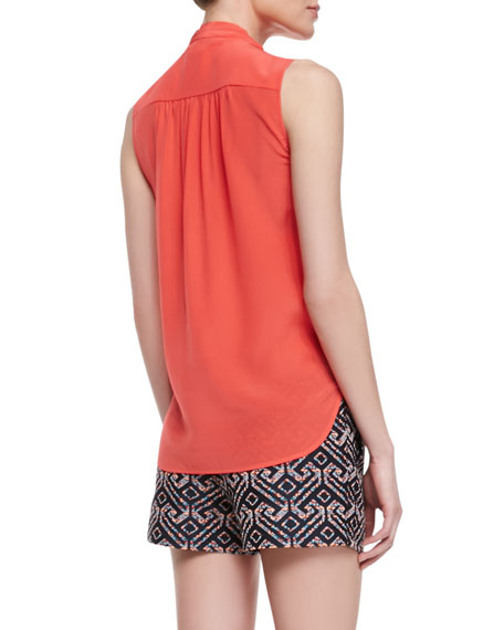 Muriel Surplice Sleeveless Silk Blouse