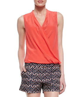 Trina Turk Muriel Surplice Sleeveless Silk Blouse
