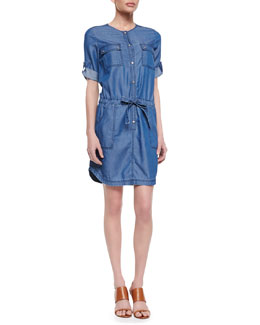 Trina Turk Giovanna Coated-Denim Dress