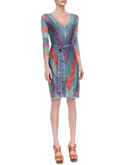 Melinda Belted V-Neck Dress