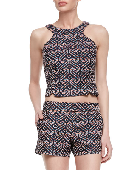 Vixen Printed Sleeveless Cut-In Crop Top