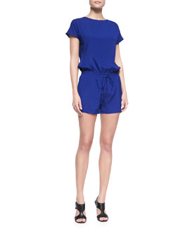 Ramy Brook Nini Slit-Back Short-Sleeve Short Jumpsuit