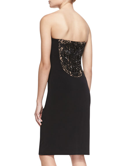 Strapless Beaded-Back Cocktail Dress, Black