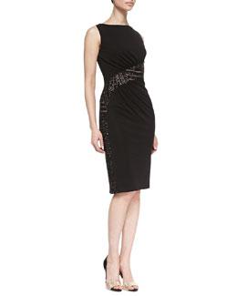 David Meister Sleeveless Lace Waist Cocktail Dress, Black