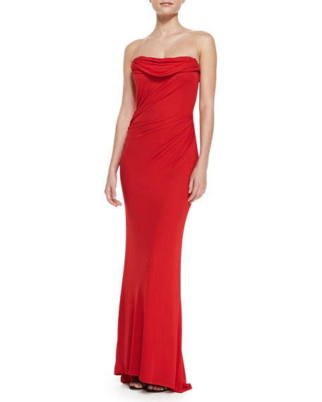 Strapless Draped-Front Gown, Red