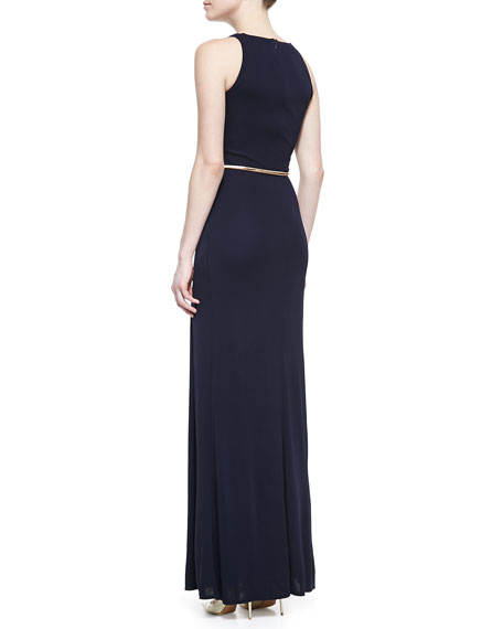 Sleeveless Cowl-Neck Belted Gown, Navy