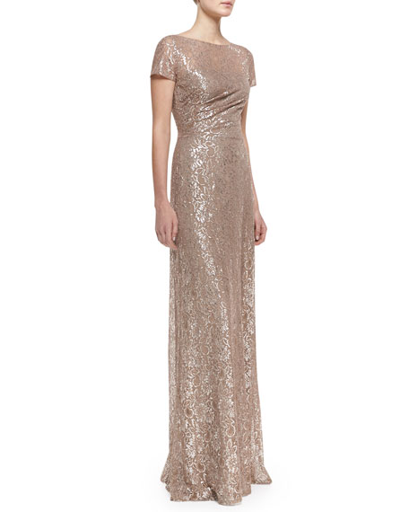 Short-Sleeve Sequined Lace Gown, Mauve/Silver