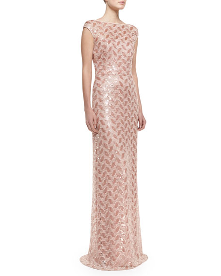 Cap-Sleeve Beaded Lace Gown, Light & Dark Pink