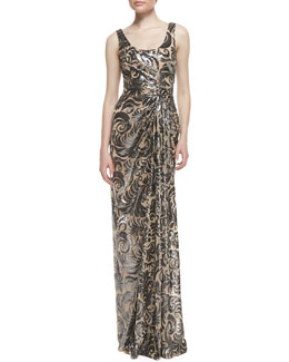 David Meister Sleeveless Off-Center Pleated Beaded Gown, Nude/Black