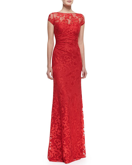 Short-Sleeve Ruched-Waist Lace Gown, Red