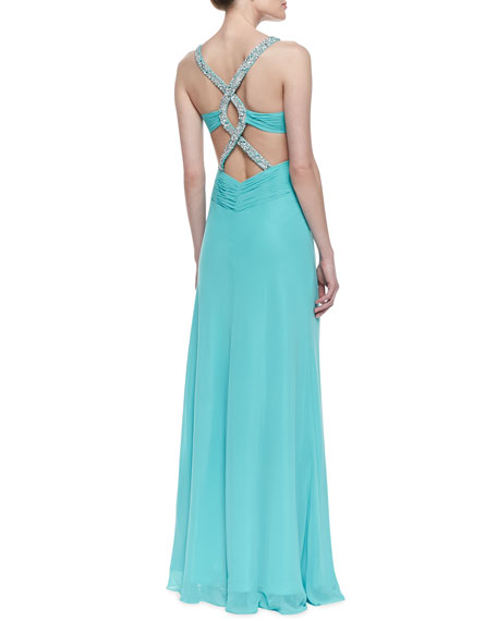 Sleeveless Beaded-Strap Gown, Aqua