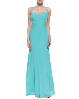 Faviana Sleeveless Beaded-Strap Gown, Aqua