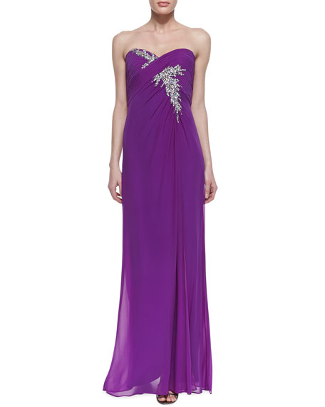 Strapless Beaded Spray Bodice Gown, Purple