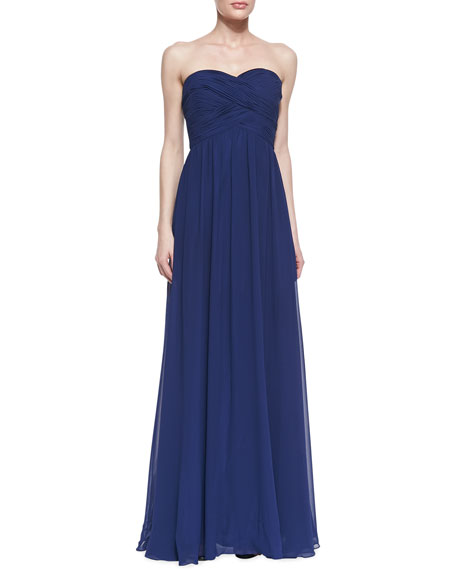 Strapless Ruched Bodice Gown, Navy