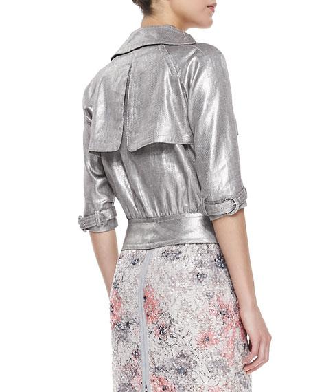 3/4-Sleeve Metallic Moto Jacket, Brushed Silver