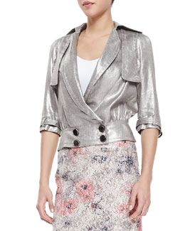 Byron Lars Beauty Mark 3/4-Sleeve Metallic Moto Jacket, Brushed Silver