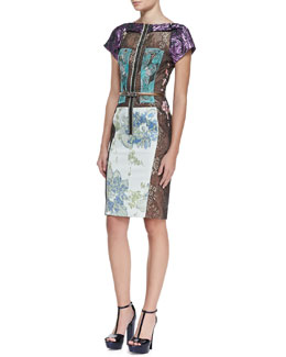Byron Lars Beauty Mark Mixed Media Zip Floral, Multicolor