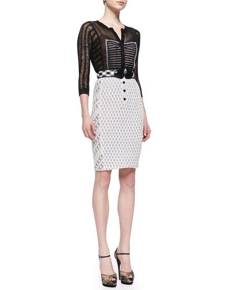 Belted Mixed-Media Sheath Dress, Black/White