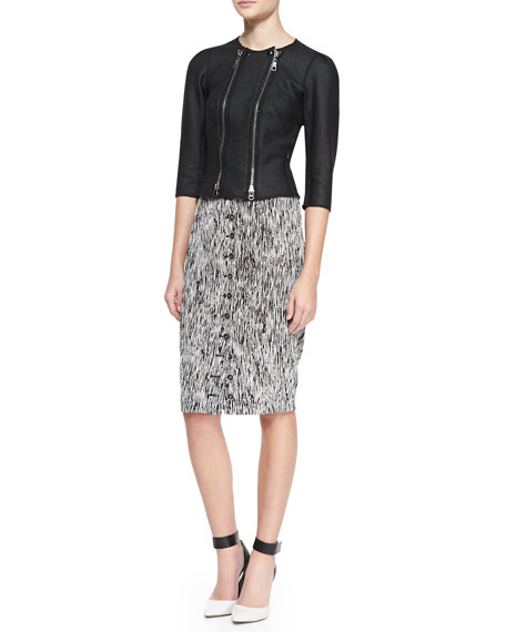 Button-Front Optical Weave Pencil Skirt, Mascara Black/White
