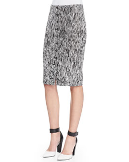 Byron Lars Beauty Mark Button-Front Optical Weave Pencil Skirt, Mascara Black/White